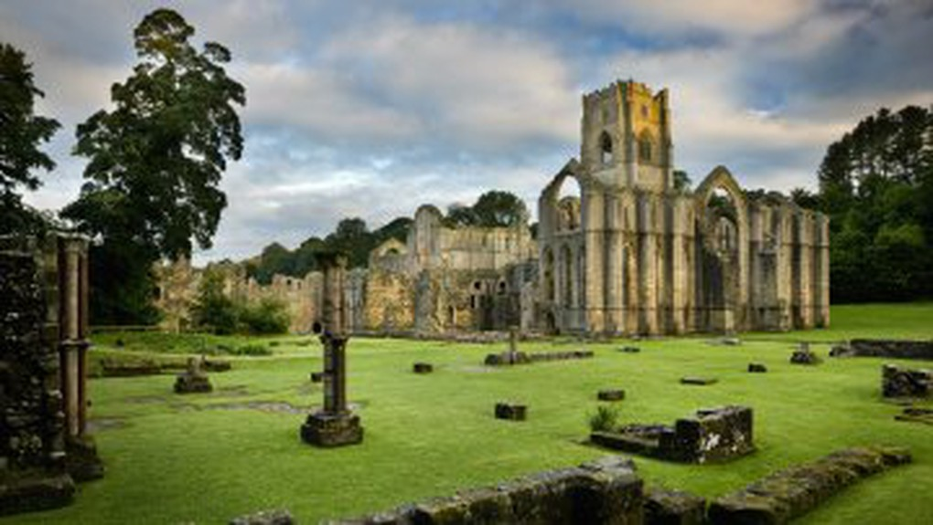 Fountains Abbey, a ruined Cistercian monastery in North Yorkshire, near Ripon, England. Founded in 1132.