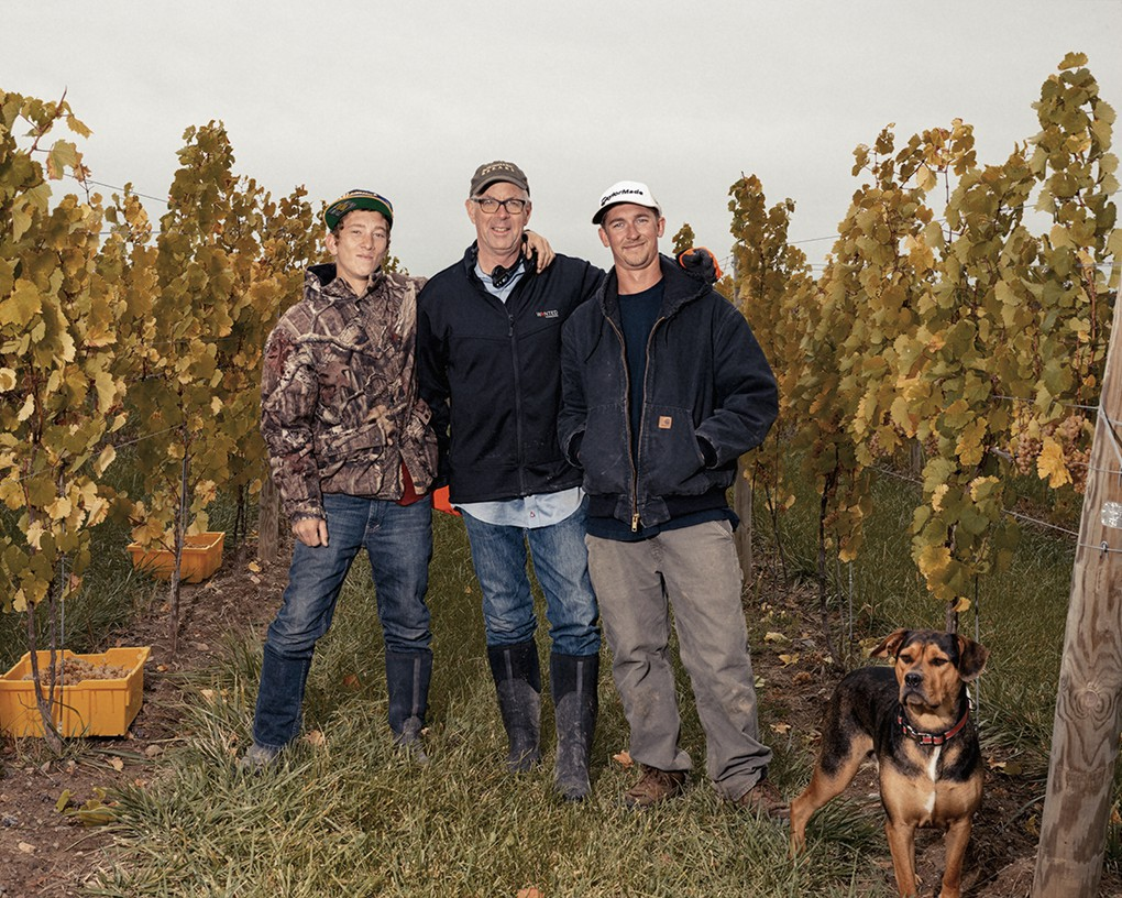 Harvest in September, 2015. (from left) John Swick, Vineyard Associate; Bruce Murray, co-owner; Kees Stapel, Vineyard Manager; Jackson, John's dog.