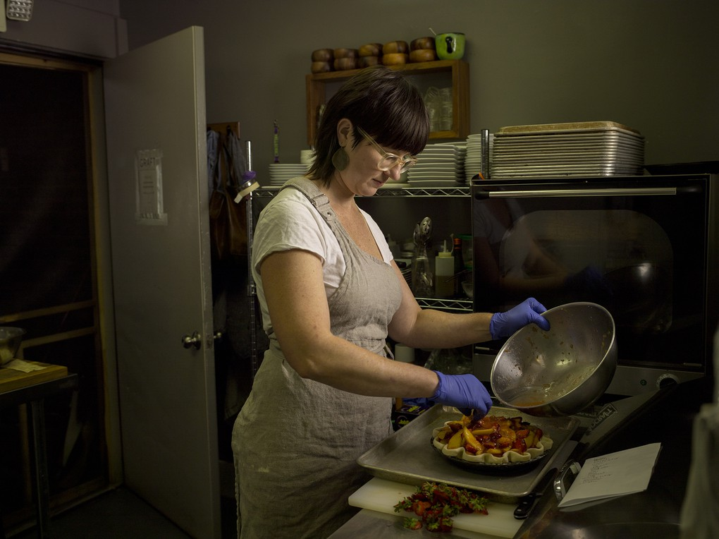 Christina McKeough, chef at Graft Restaurant, in Watkins Glen, NY. The Finger Lakes.
