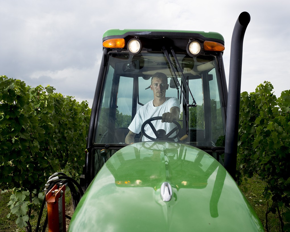 Vineyard Manager Kees Stapel spends much of his time in the John Deere 5101.